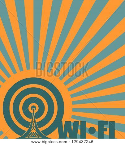 Wi Fi Network Symbol . Mobile gadgets technology relative vector image.Wi fi text on sun rays background