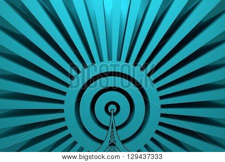 Wi Fi Network Symbol . Mobile gadgets technology relative image. 3D rendering. Sun rays backdrop