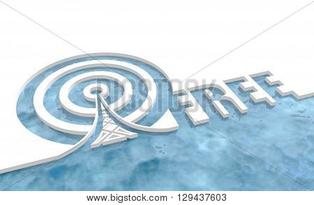 Wi Fi Network Symbol . Mobile gadgets technology relative image. 3D rendering. Free text