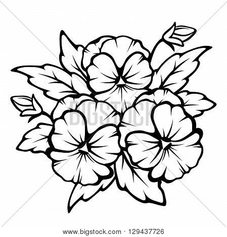 Vector black contours of pansy flowers isolated on a white background.
