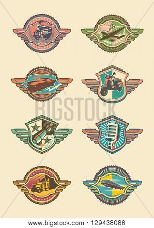 Set of retro emblems. Vector illustration.