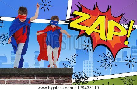 Masked kids walking pretending to be superheroes against the word zap