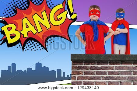 Masked kids pretending to be superheroes against the word bang