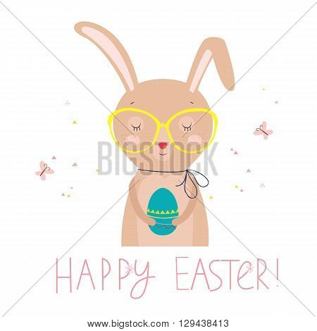 Easter card with funny rabbit and colored egg. Vector illustration on white background.
