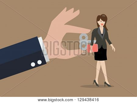 Hand turns on business woman with wind-up key in her back. Business concept
