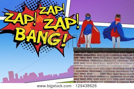Masked kids running pretending to be superheroes against the words zap and bang