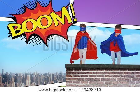 Masked kids running pretending to be superheroes against the word boom