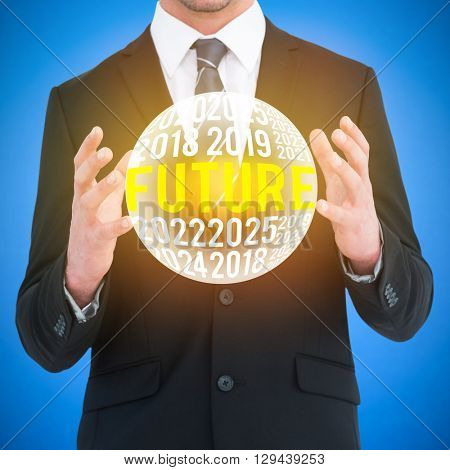 Businessman gesturing with his hands against blue background digitally generated blue design background