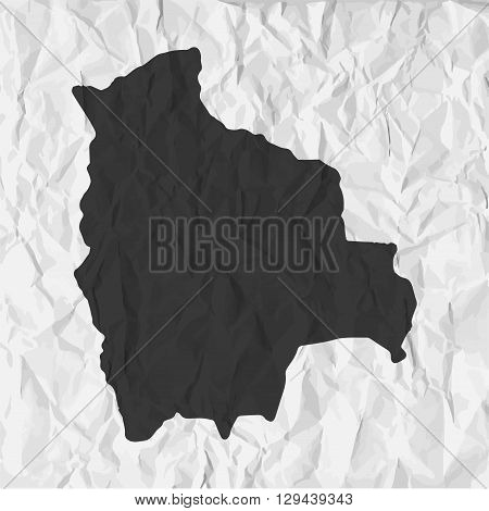 Bolivia map in black on a background crumpled paper