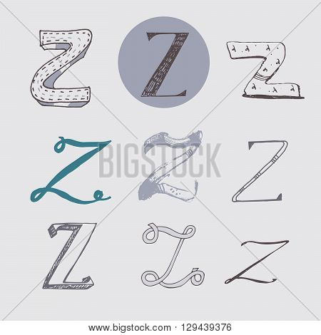 Original letters Z set isolated on light gray background. Alphabet symbols editable hand drawn creative in different variations Italic 3d freehand drawn with brush and nib vector Illustration