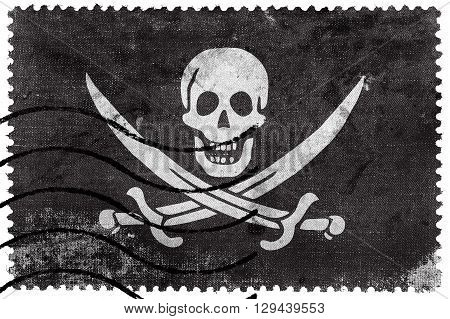 Calico Jack Pirate Flag, Old Postage Stamp
