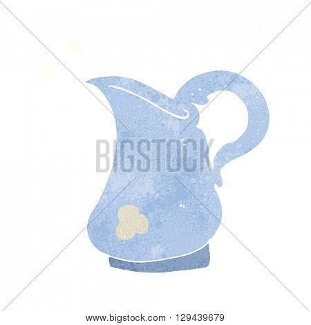 freehand retro cartoon milk jug