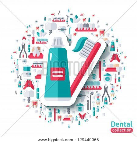 Toothbrush and Toothpaste Flat Sticker Icon. Vector concept illustration. Teeth Care, Orthodontics and Dentistry Tools and Equipment symbols.