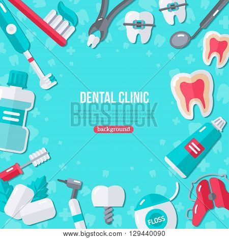 Dentistry Banner With Flat Icons on Blue Background. Vector illustration. Dental Concept Frame. Healthy Clean Teeth. Dentist Tools and Equipment.