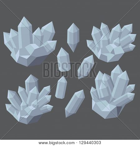 Colorful shiny bright crystals.  Polygon stone mineral and poly  shape rocks. Emerald crystal, ruby crystal, tourmaline crystal, quartz crystal, diamond crystal isolated. vector