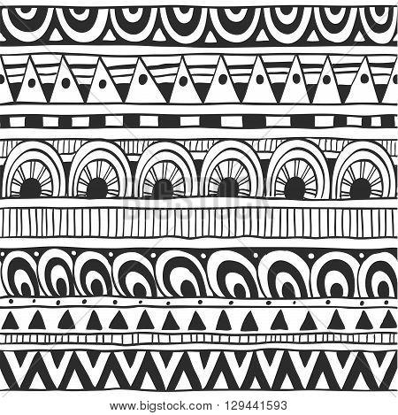 Seamless ornament from the semi-circles and triangles in ethnic style black and white