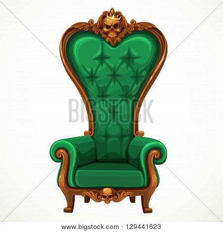 Armchair upholstered in green and high-backed baroque isolated on white background
