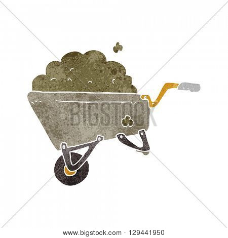 freehand retro cartoon wheelbarrow full of dirt