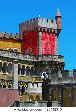 Detail of Pena national palace Sintra Portugal