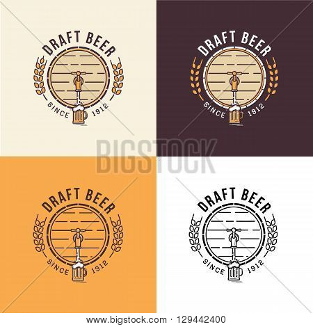 Set of vintage beer berwery logo template