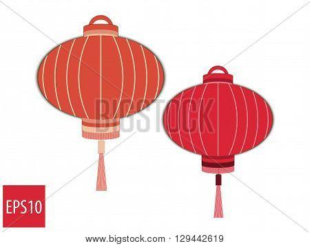 Chinese Lantern. Oriental Paper Lantern. Vector Illustration.