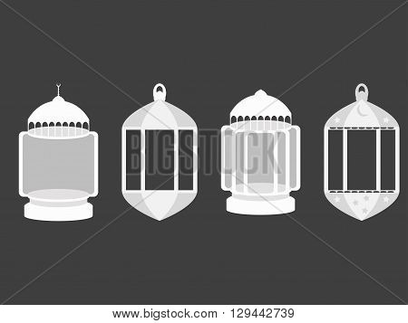 Arabic lamps. Arabic Ramadan lanterns. Flat icon set. Vector illustration.