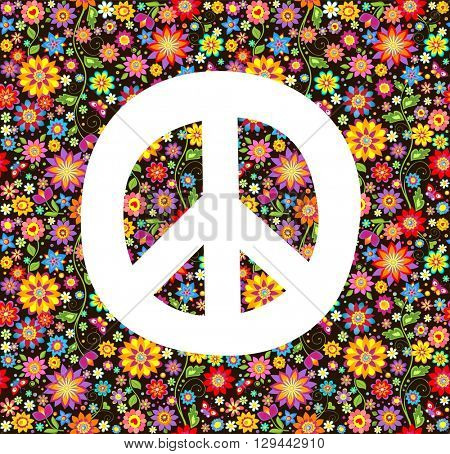 Hippie wallpaper with flowers print