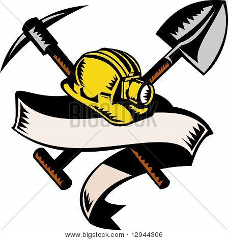 miner hardhat hat shovel spade pick ax