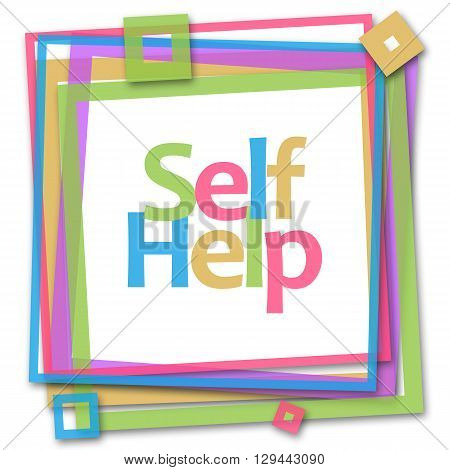 Self help text written over colorful background.