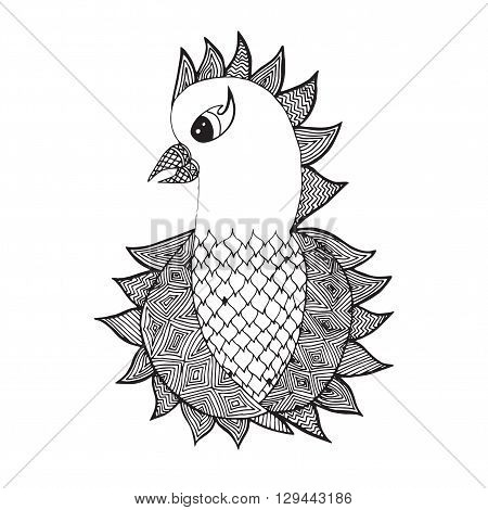 Cute isolated parrot on the white background. Animals bird. Hand drawn doodle. Africanindian totem tattoo element design. Sketch for avatar tattoo poster print or t-shirt.