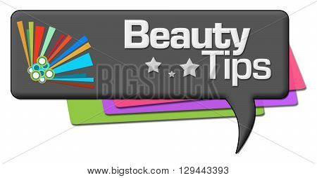 Beauty tips text written over dark colorful background.