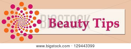 Beauty tips text written over pink orange background.