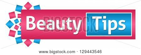 Beauty tips text written over pink blue background.