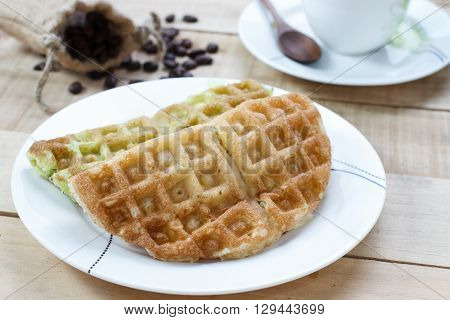 Corn vanilla and pandan thai waffle and coffee selection focus.