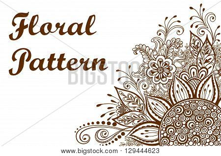 Calligraphic Vintage Pattern, Symbolic Flowers and Leafs, Abstract Floral Outline Ornament, Brown Contours Isolated on White Background. Vector