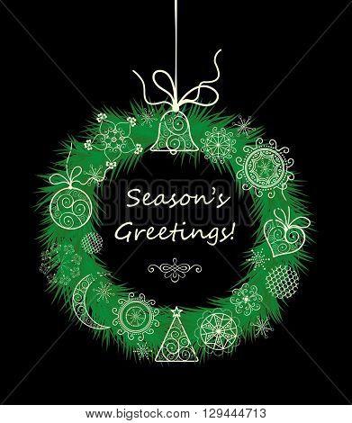 Season greetings with xmas hanging decorative wreath