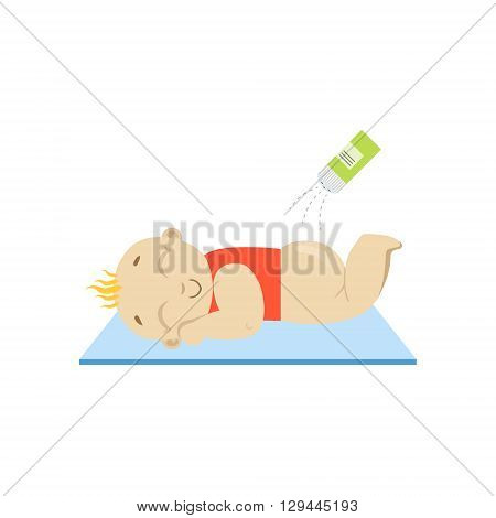 Baby In Red And Baby Powder Flat Simple Cute Style Cartoon Design Vector Illustration Isolated On White Background