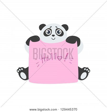 Panda With The Template For The Message Cute Childish Colorful Flat Vector Illustration On White Background