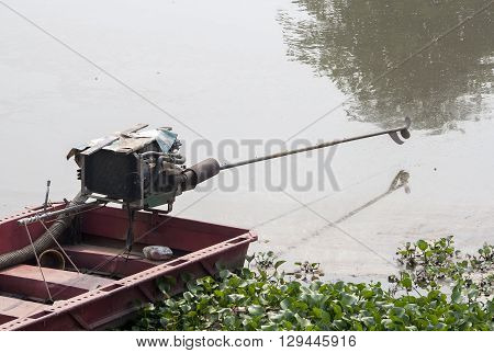 thai long tail with motor in the river
