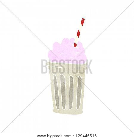 freehand retro cartoon milkshake