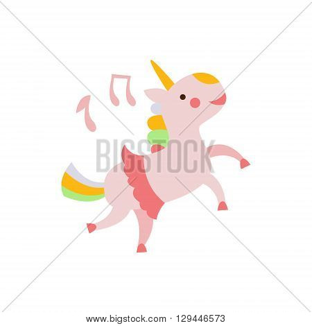 Unicorn Dancing In Skirt Creative Funny And Cute Flat Design Vector Illustration In Simplified Mulicolor Style On White Background
