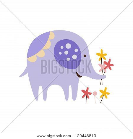 Purple Elephant Picking Flowers Creative Funny And Cute Flat Design Vector Illustration In Simplified Mulicolor Style On White Background