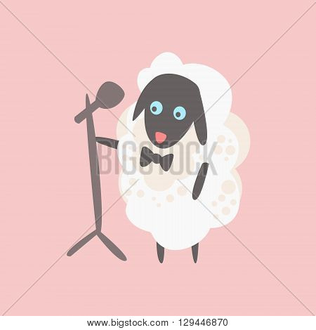 Sheep With Microphone On Stage Creative Funny And Cute Flat Design Vector Illustration In Simplified Mulicolor Style On White Background