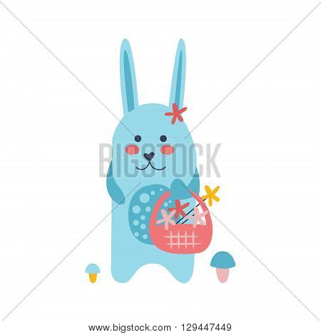 Bunny Picking Flowers Creative Funny And Cute Flat Design Vector Illustration In Simplified Mulicolor Style On White Background