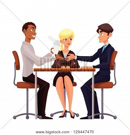 Talks at table, comic cartoon on a white background, a job interview, discuss important issues of a corporate, Young businessmen handshaking after negotiation, offering his partner
