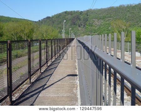 Pedestrian Line N A Railway Bridge With Railing