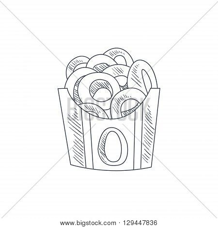 Onion Rings Hand Drawn Cool Monochrome Vector Contour Sketch