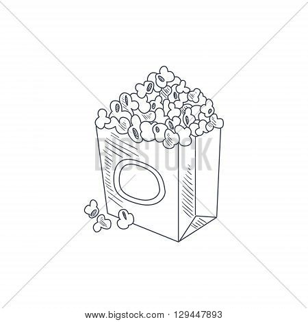 Pop Corn Hand Drawn Cool Monochrome Vector Contour Sketch