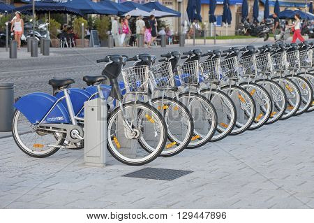FRANCE MARSEILLE - AUGUST 6 2013: Bikes for rent in the port of Marseilles.
