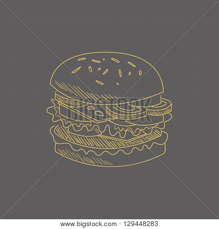 Burger Hand Drawn Cool Monochrome Vector Contour Sketch